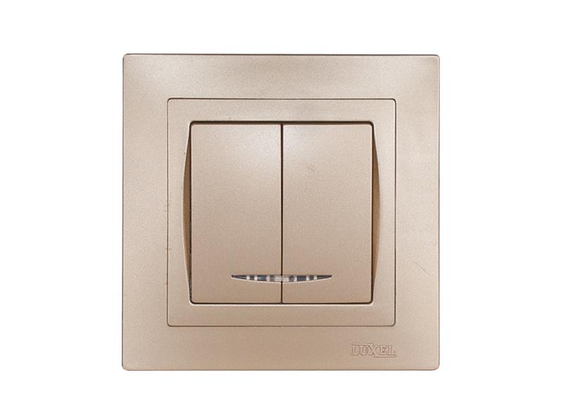 Выключатель двойной с подсветкой BRAVO (5606) платина