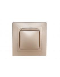 Розетка с заземлением и крышкой Luxel BRAVO (5611) платиновая