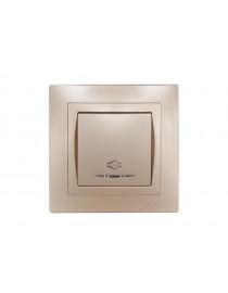 Выключатель проходной с подсветкой Luxel BRAVO (5616) платиновый