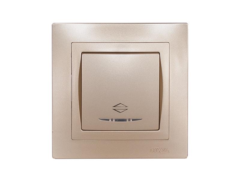 Выключатель проходной с подсветкой BRAVO (5616) платина