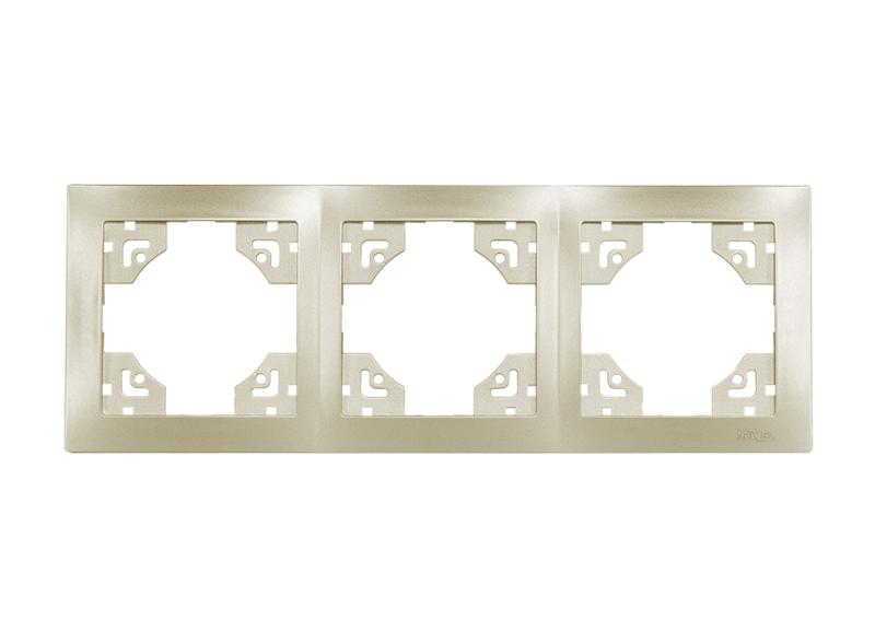 Рамка 3-я горизонтальная BRAVO (5623) платина