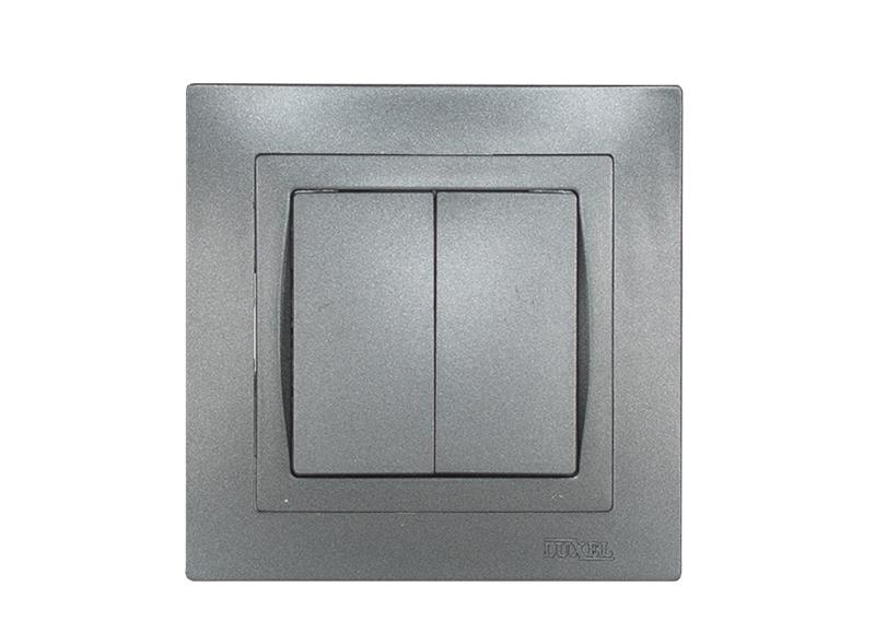 Выключатель двойной BRAVO (5703) графит