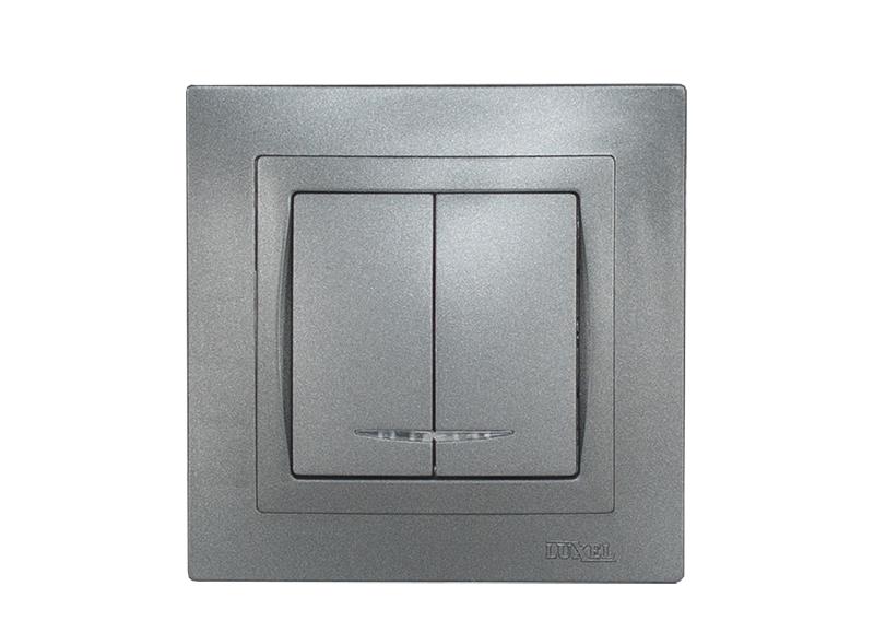 Выключатель двойной с подсветкой BRAVO (5706) графит