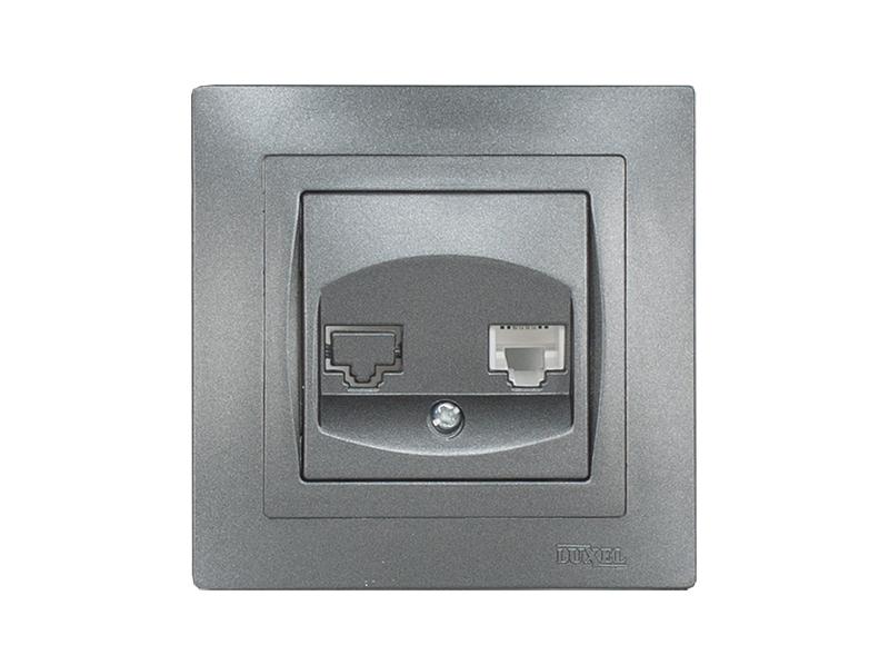 Розетка телефонная BRAVO (5710) графит