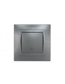 Выключатель проходной Luxel BRAVO (5715) графитовый