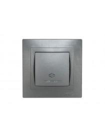 Выключатель проходной с подсветкой Luxel BRAVO (5716) графитовый