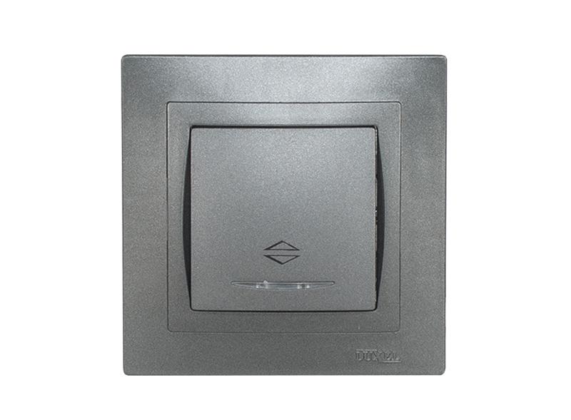Выключатель проходной с подсветкой BRAVO (5716) графит