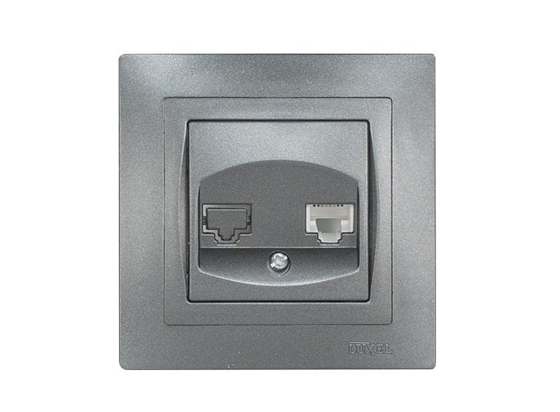 Компьютерная розетка BRAVO (5727) графит
