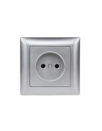 Розетка одинарная Luxel PRIMERA (3501) серебряная