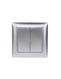 Выключатель двойной Luxel PRIMERA (3503) серебряный