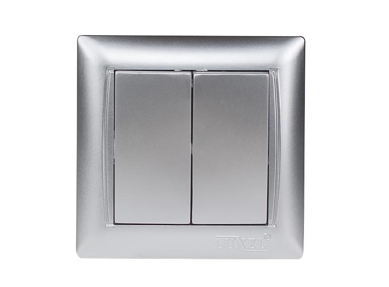 Выключатель двойной PRIMERA (3503) серебро