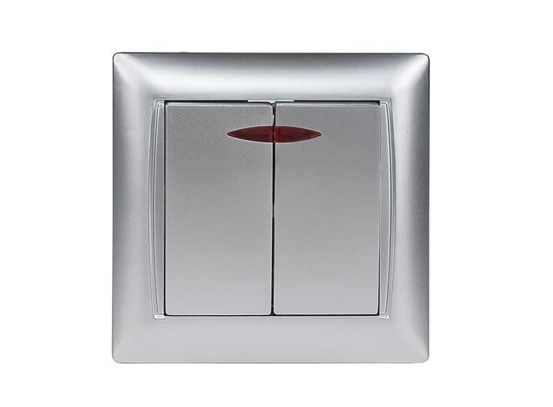 Выключатель двойной с подсветкой PRIMERA (3506) серебро