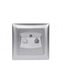 Розетка телефонная Luxel PRIMERA (3510) серебряная