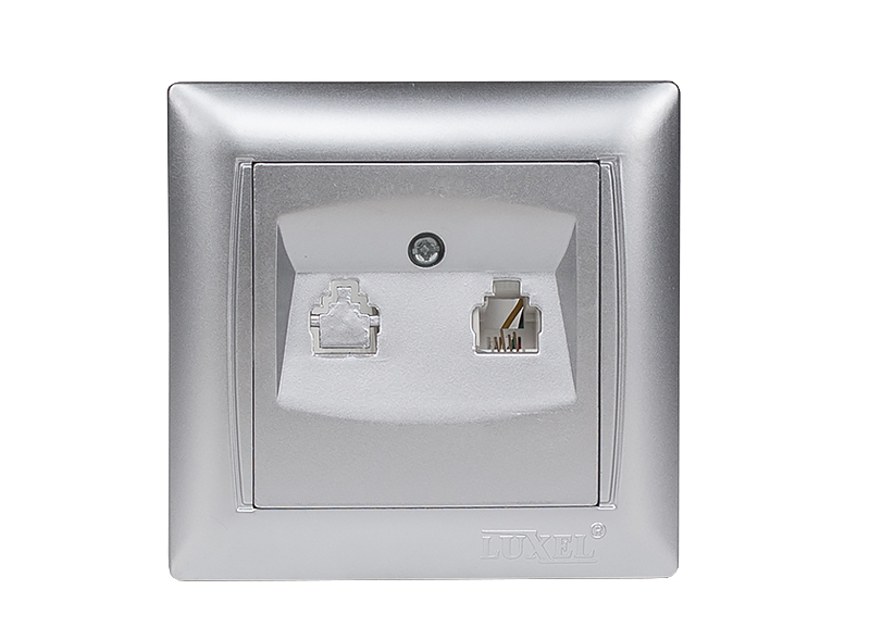 Розетка телефонная PRIMERA (3510) серебро