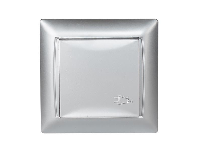 Розетка с заземлением и крышкой PRIMERA (3511) серебро