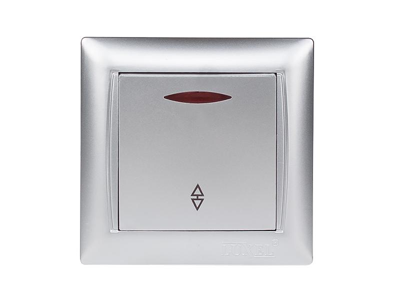 Выключатель проходной с подсветкой PRIMERA (3516) серебро