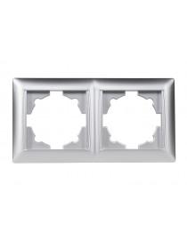 Рамка 2-я горизонтальная Luxel PRIMERA (3522) серебряная