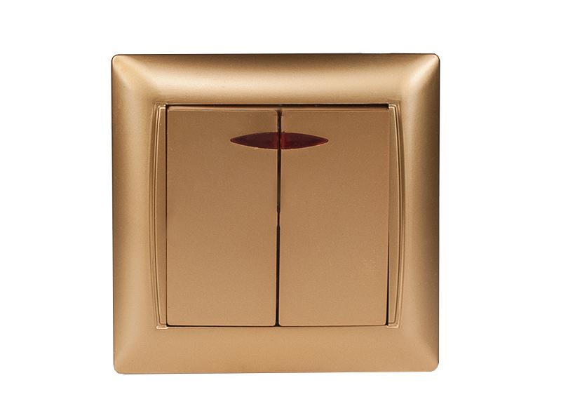Выключатель двойной с подсветкой PRIMERA (3606) золото