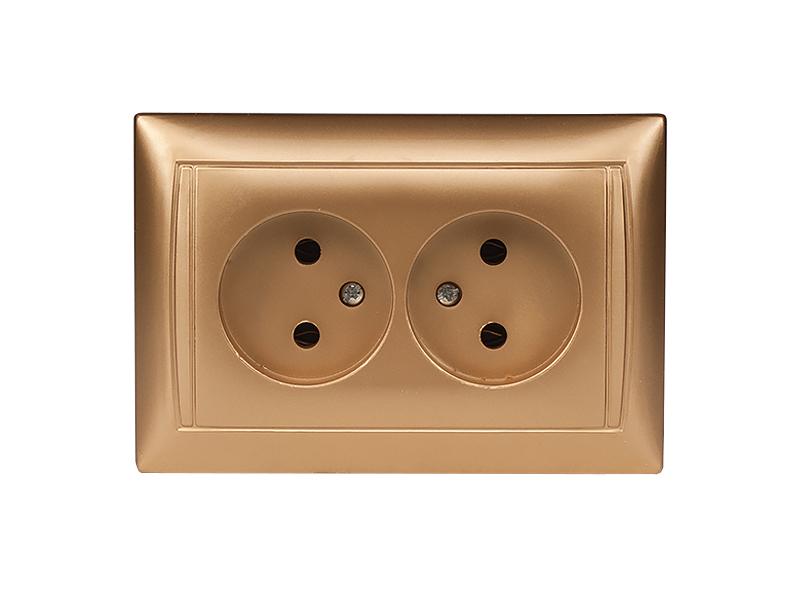 Розетка двойная PRIMERA (3607) золото