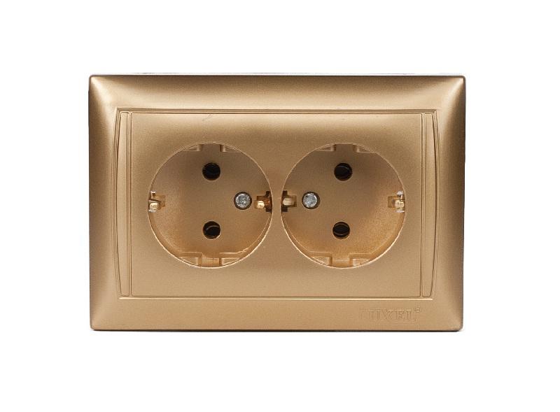 Розетка двойная с заземлением PRIMERA (3608) золото