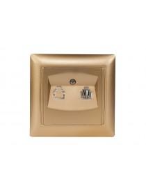 Розетка телефонная Luxel PRIMERA (3610) золотая