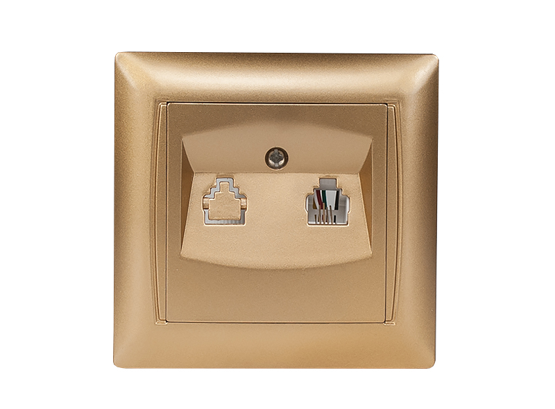 Розетка телефонная PRIMERA (3610) золото
